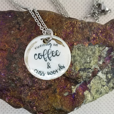 coffee and cuss words - Shell pendant