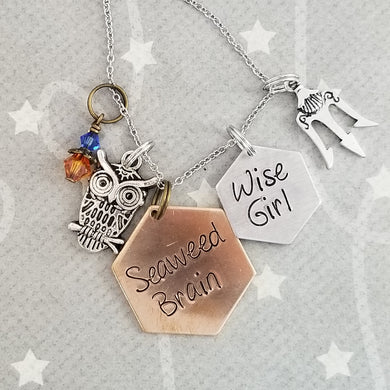 Seaweed Brain / Wise Girl - Charm Necklace