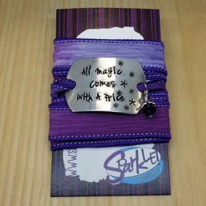 All Magic Comes With a Price  silk wrap bracelet