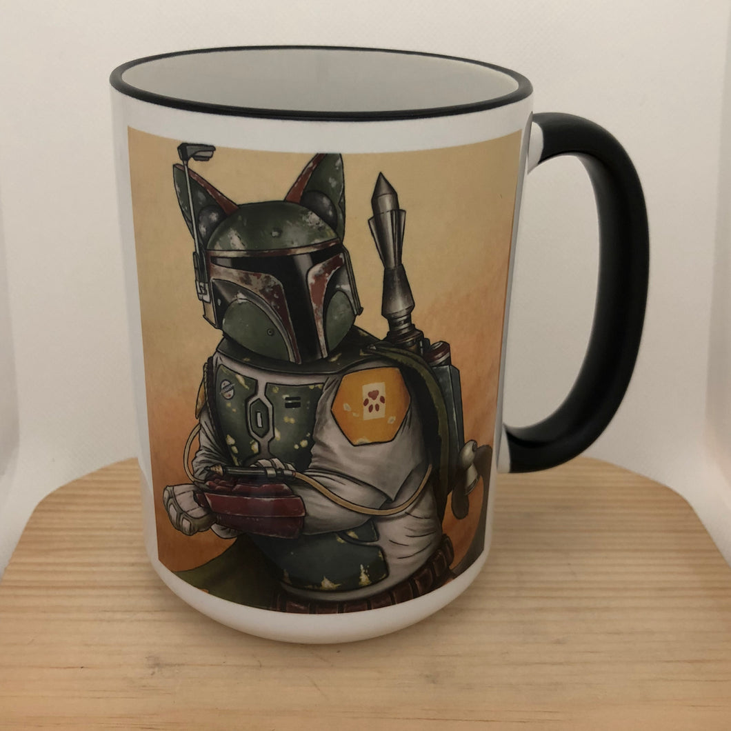 Boba Cat 15 oz coffee mug