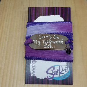 Carry On My Wayward Son silk wrap bracelet