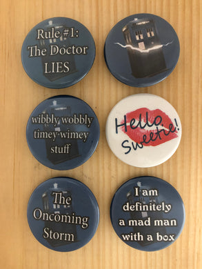 Doctor Who Inspired Button Set