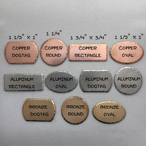 Hand stamped keychains - Custom - 1 piece of metal