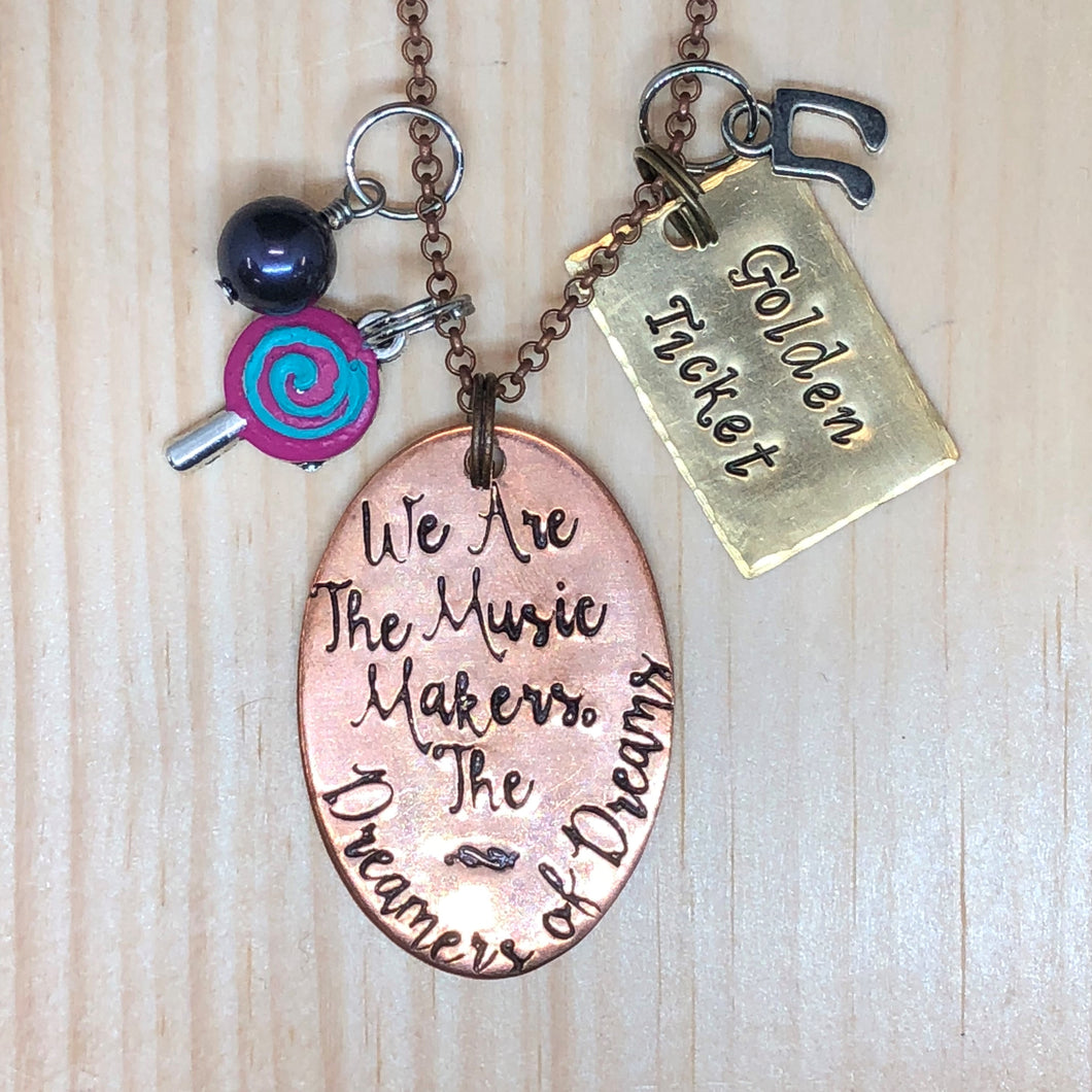 We Are The Music Makers, The Dreamers of Dreams - Charm Necklace