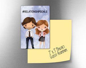 "#relationshipgoals  Jim and Pam The Office inspired  inspired 2"" x 3"" Aluminum Magnet"