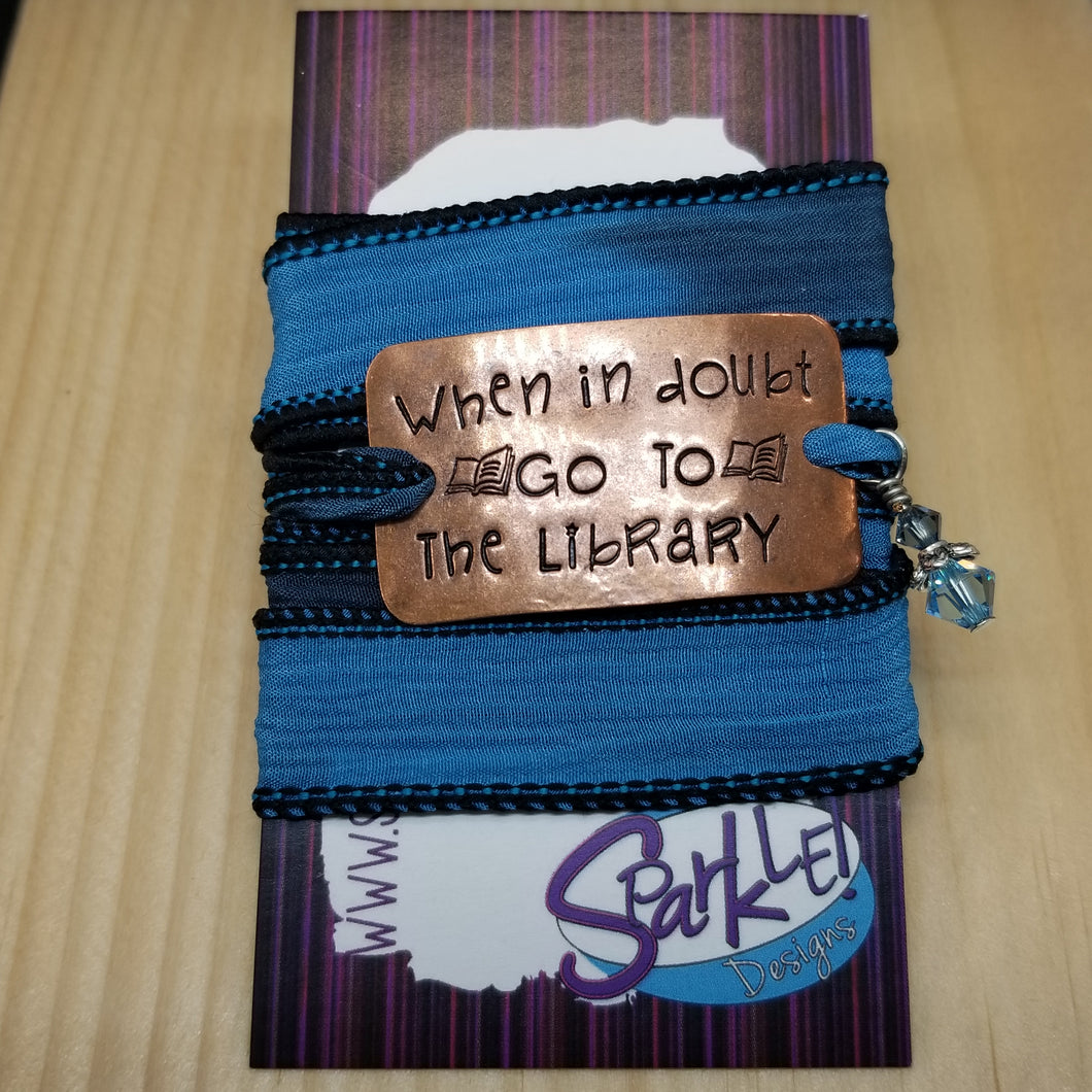 When In Doubt Go To The Library  silk wrap bracelet