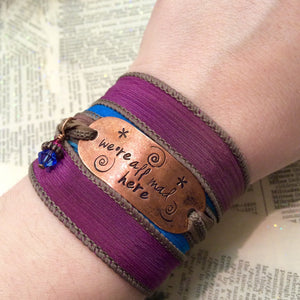 Laugh Hard Run Fast Be Kind silk wrap bracelet