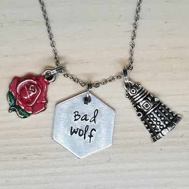Bad Wolf with Dalek - Charm Necklace