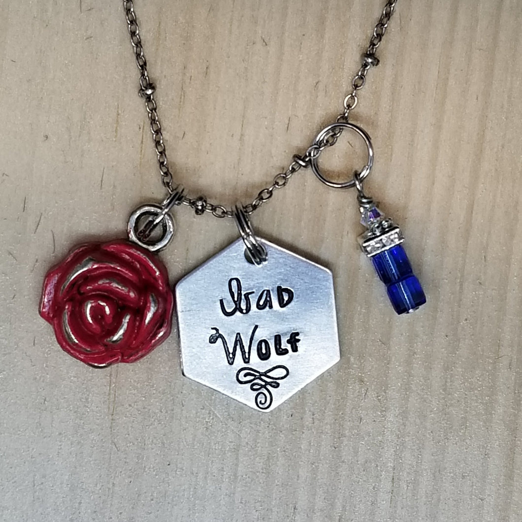 Bad Wolf with TARDIS - Charm Necklace