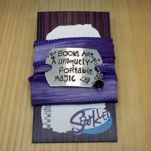 Books Are A Uniquely Portable Magic silk wrap bracelet