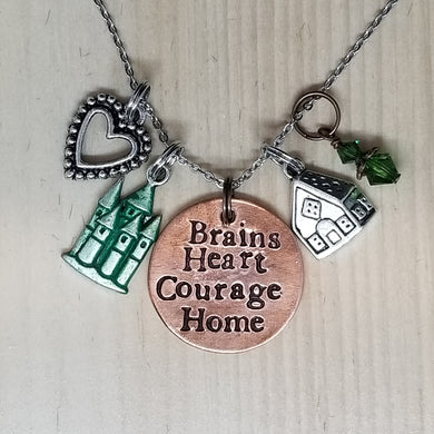 Brains Heart Courage Home - Charm Necklace