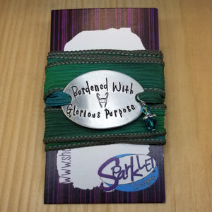 Burdened With Glorious Purpose silk wrap bracelet