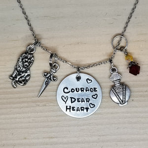 Courage Dear Heart with a Potion Bottle - Charm Necklace