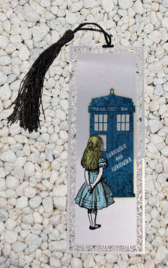 Curiouser and Curiouser - Alice and the tardis  -  Metal Bookmark
