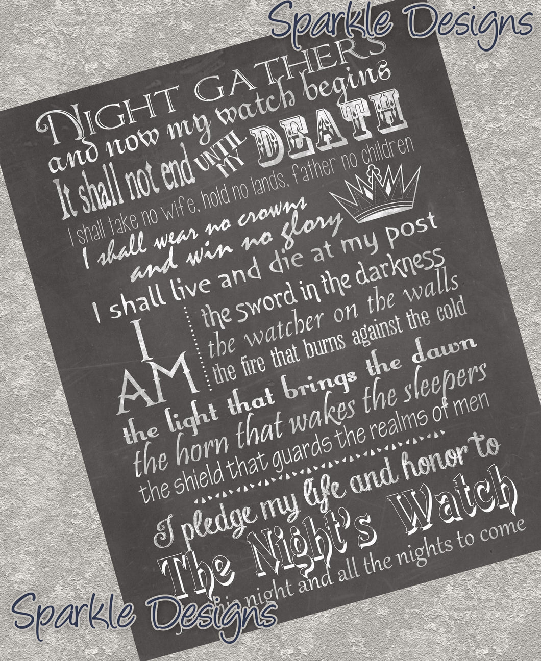 Night's watch oath - Game of Thrones 57 Art Print