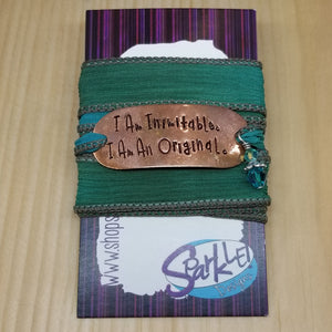 I Am Inimitable I Am An Original silk wrap bracelet
