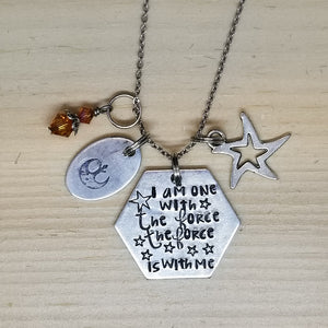 I Am One With The Force The Force With Me - Charm Necklace