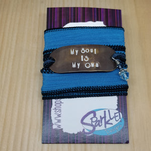 My Soul Is My Own silk wrap bracelet