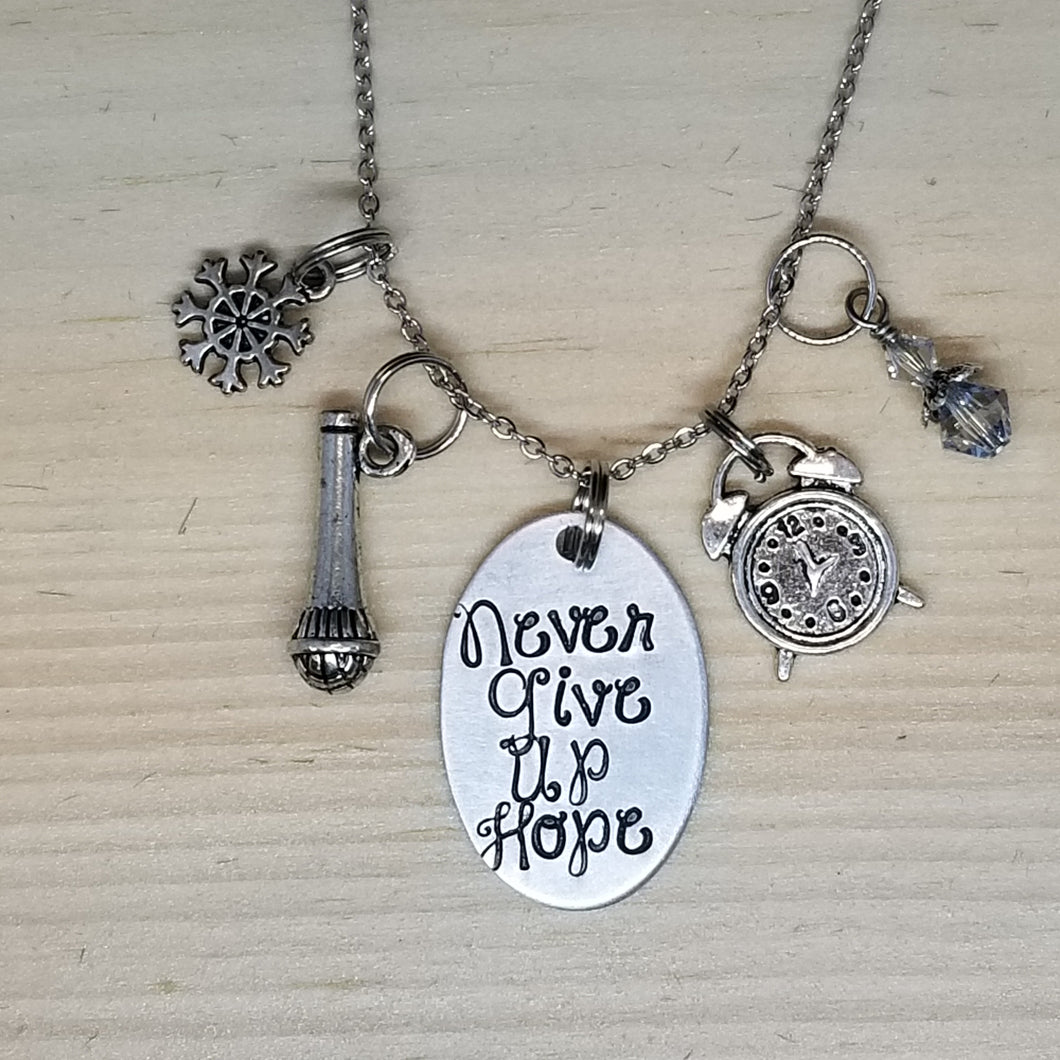 Never Give Up Hope - Charm Necklace