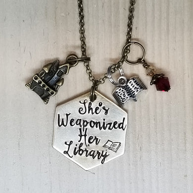 She's Weaponized The Library - Charm Necklace