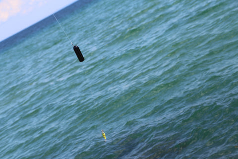 wireless GoFish Cam on a fishing line