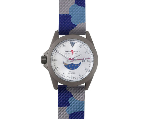 Sportfisher II Silver Moonphase - Ocean Camouflage Strap