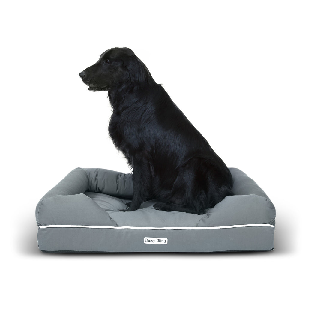 Daisy Elliott Luxury Waterproof Orthopaedic Memory Foam Dog Bed (Medium Slate Grey - 91x71cm)