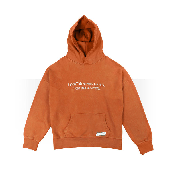 I don't remember names brown hoodie