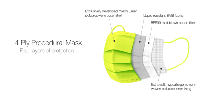PSL 4-Ply Protective Mask - Neon Series - Orange (Pack of 10)