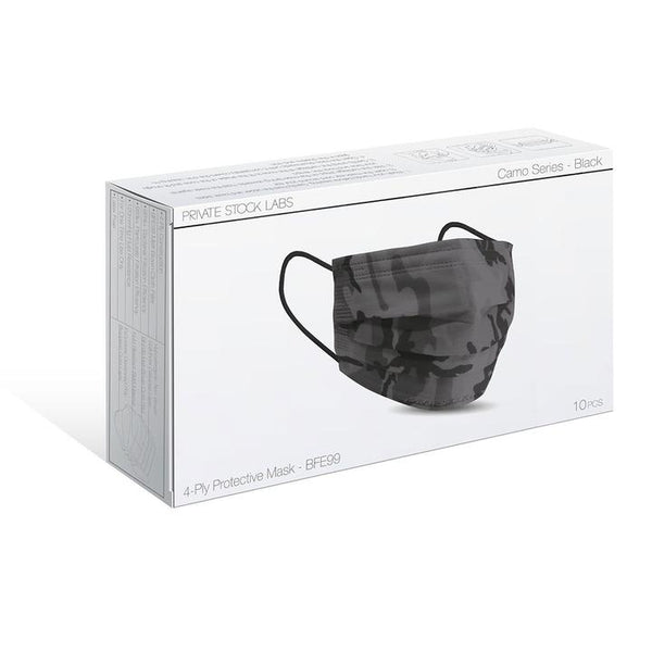 PSL 4-Ply Protective Mask: Camo Series - BLACK (Pack of 10)