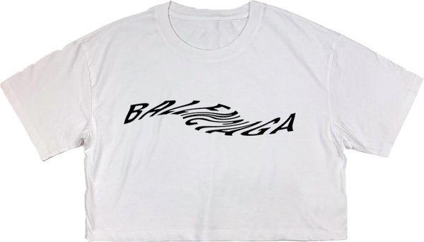 BALENCIAGA WAVE CROPPED T-Shirt White