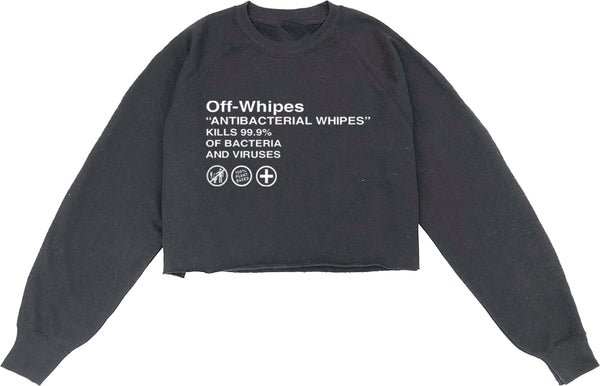 OFF Whipes Cropped Sweatshirt Black
