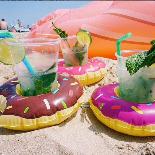 Frosted donuts beverage boat