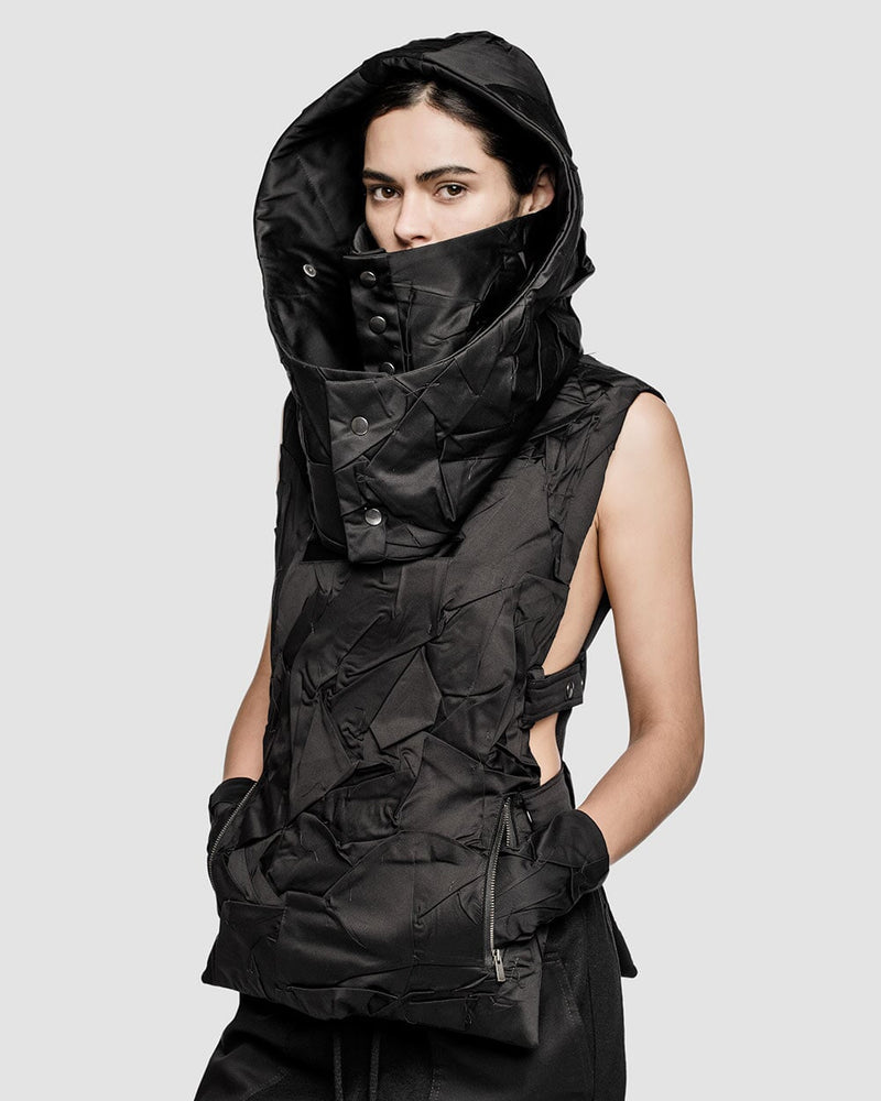 "Crushed Shelter Hood-Neck Warmer ""YT"""