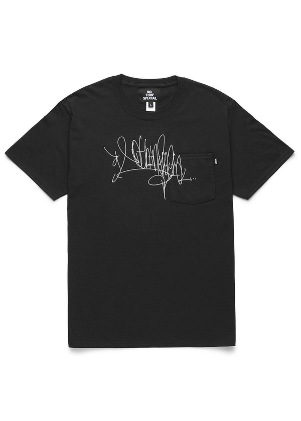 Handstyle Tag Pocket Tee Black