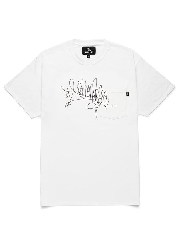 Handstyle Tag Pocket Tee White