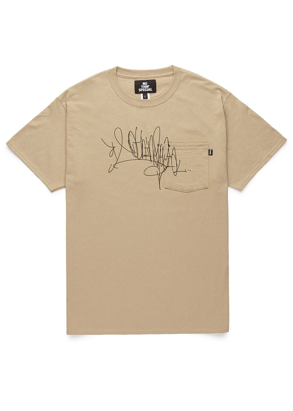 Handstyle Tag Pocket Tee Sand