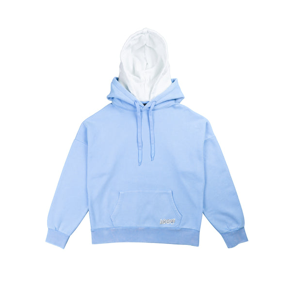 Double Hoodie Blue/White