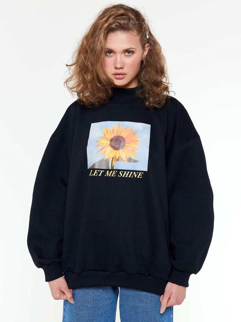 Let Me Shine Oversized High Neck Sweater