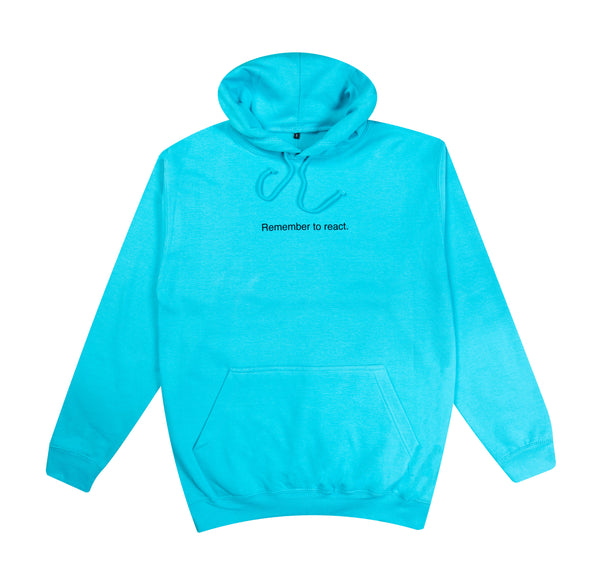 Surf Blue Hoodie - Remember to react