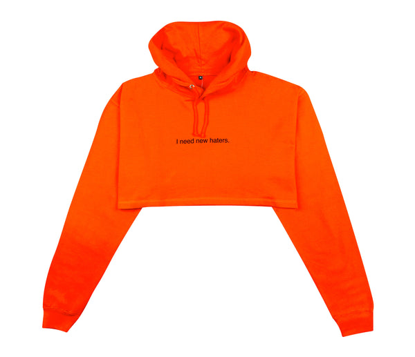 I NEED NEW HATERS SUNSET CROPPED HOODIE