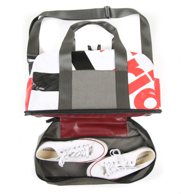 Weekender Grey (white and red print)