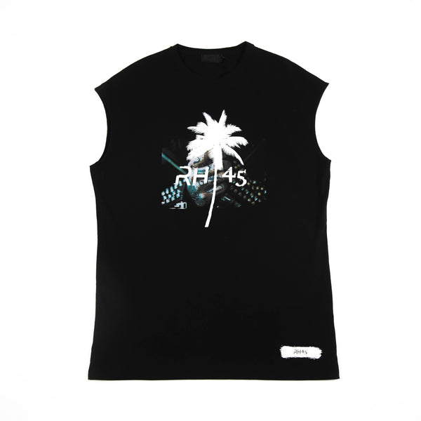 PALM PRINTED SLEEVELESS T-SHIRT