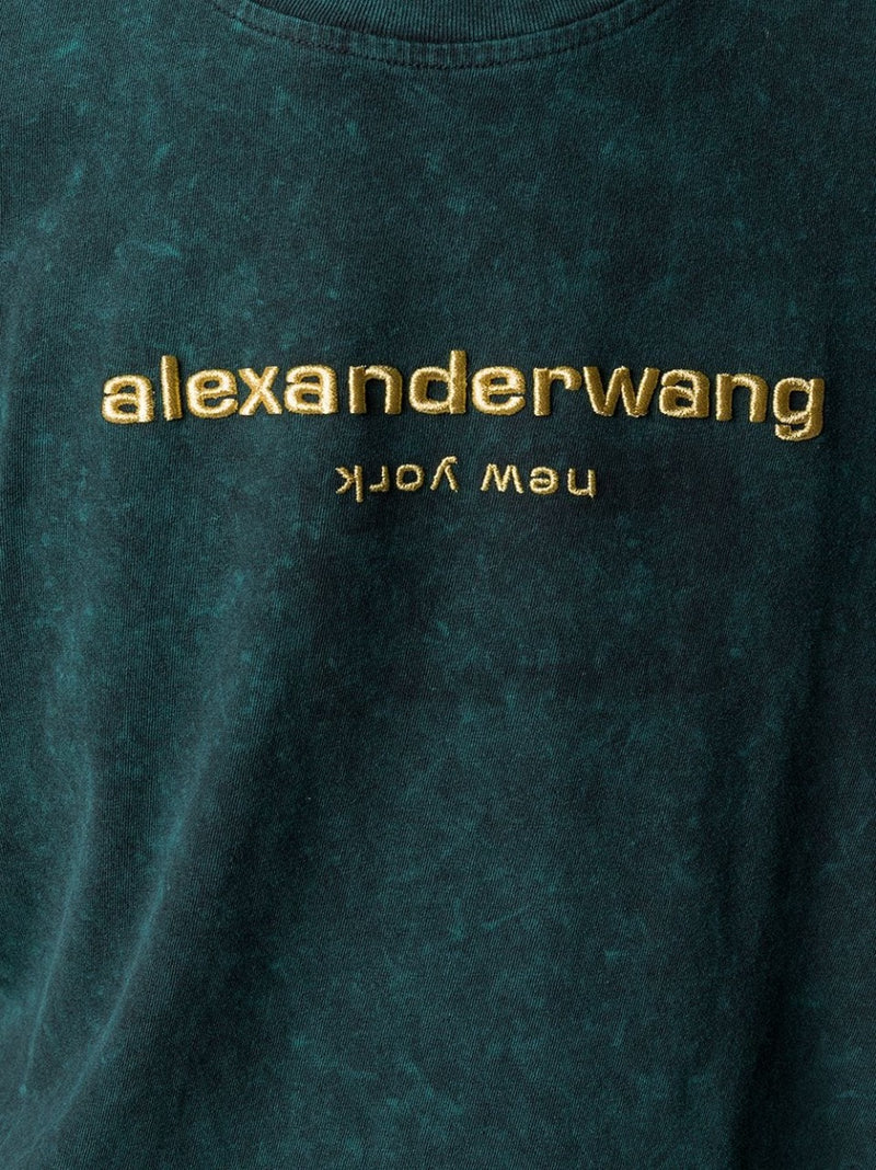 ACID WASHED TEE WITH GOLD EMBROIDERY