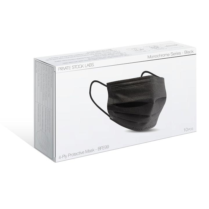 PSL 4-Ply Protective Mask - Monochrome Series - Black (Pack of 10)