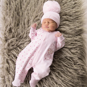 Pink Triple Hearts Cotton Sleepsuit