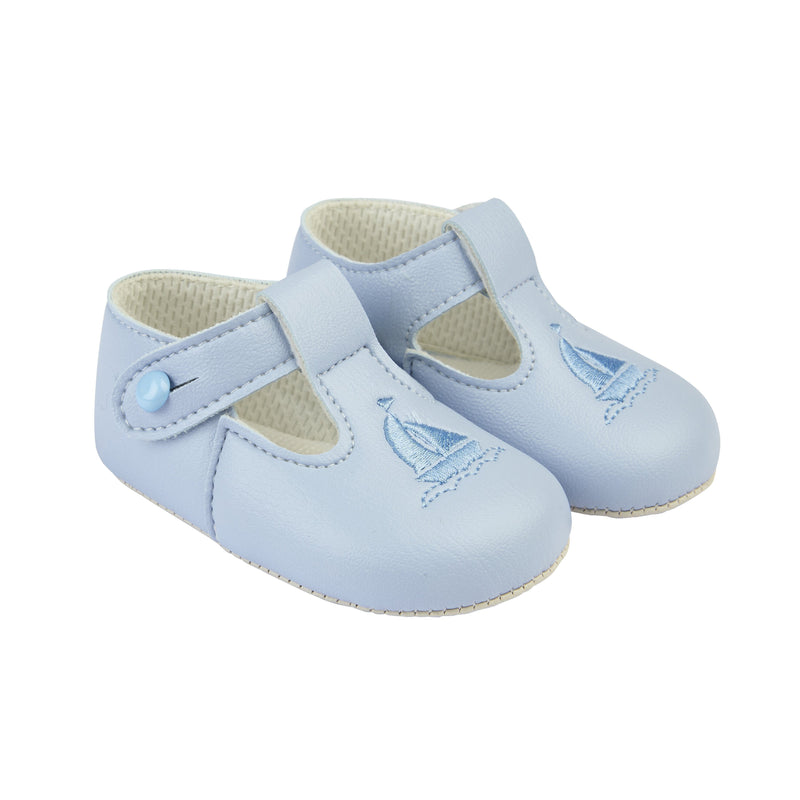 Baby Blue Sailor Pram Shoes Blue Detailing