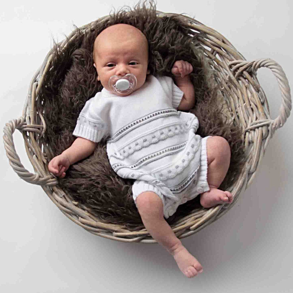 Unisex Grey & White Knitted Pointelle Romper