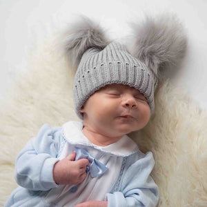 Double Faux Fur Pom Hat - Grey