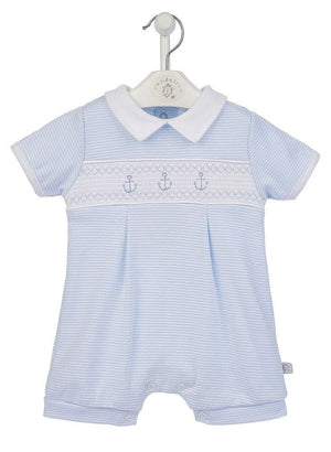Anchor Smocked Striped Romper